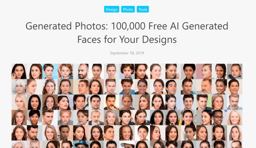 Generated Photos 소개 페이지